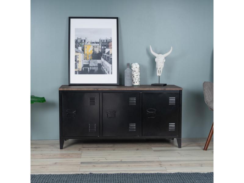 meuble tv industriel bois et metal 3 portes noir