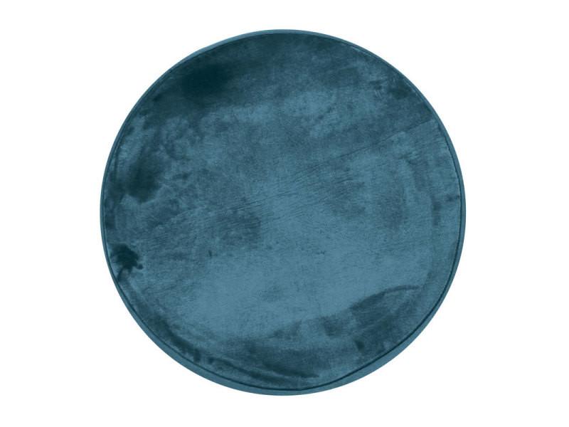 flanelle tapis rond extra doux effet velours bleu fonce diam 70