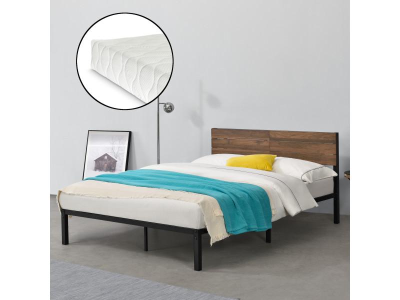 cadre de lit en metal robuste construction stable avec lattes metalliques solides avec matelas a mousse a froid design elegant capacite de charge 300