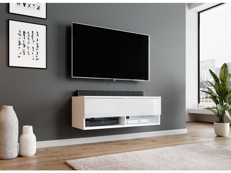 Furnix Meuble Tv Meuble Tv Suspendu Alyx 100 X 32 X 34 Cm Style Industriel Blanc Mat Blanc Brillant Vente De Meuble Tv Conforama