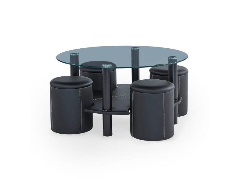 table basse ronde en verre et 4 poufs macoumi