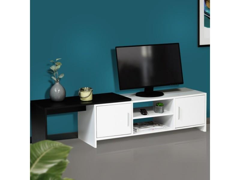 meuble tv extensible gabi blanc et noir multirangements