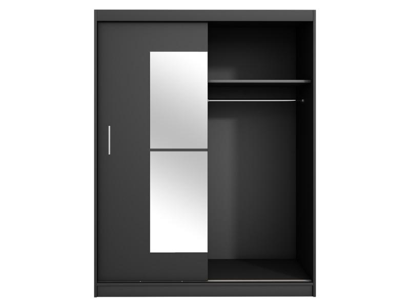 armoire avec miroir vaniva 150 cm noir portes coulissantes
