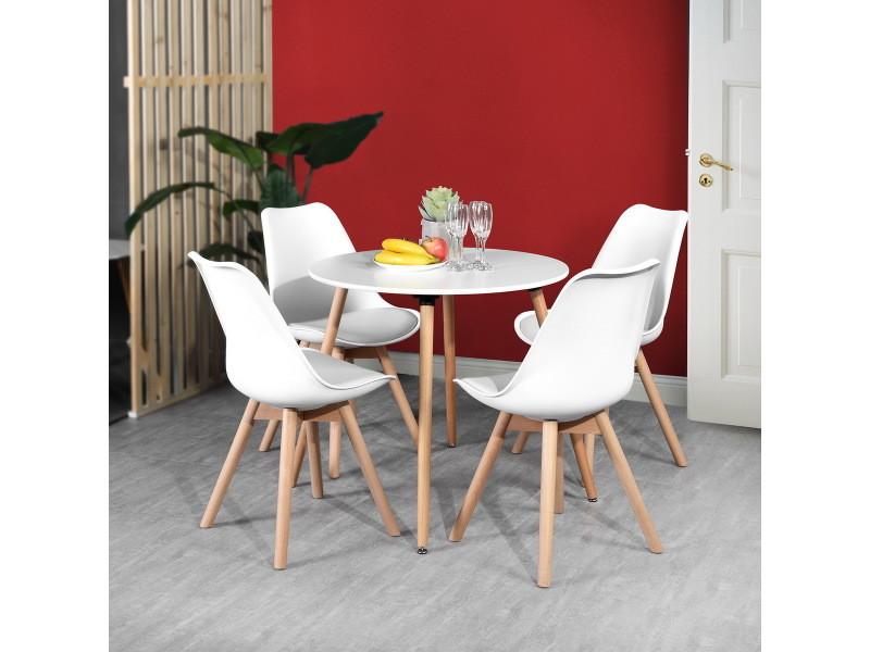 ensemble table a manger ronde 80 80 et 4 chaises scandinave bois blanc