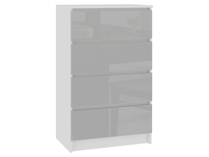 skandi commode moderne chambre bureau salon 4 tiroirs brillants 60x99x40 cm meuble de rangement multi fonctionnel blanc gris clair laque
