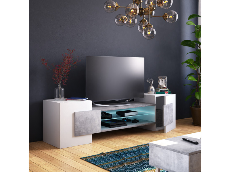 meuble tv meuble de salon gaelin 160 cm blanc mat beton avec led style contemporain