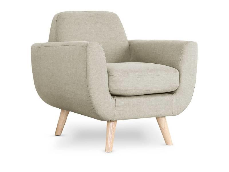 fauteuil scandinave danube tissu beige