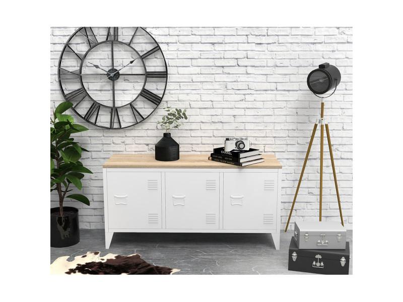 meuble tv industriel bois et metal 3 portes blanc