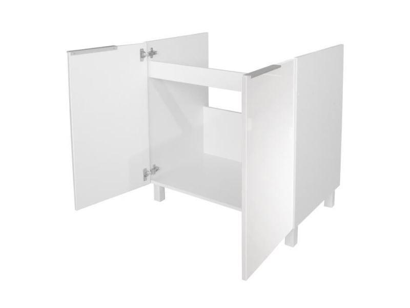 meuble sous evier pop meuble sous evier l 80 cm blanc brillant