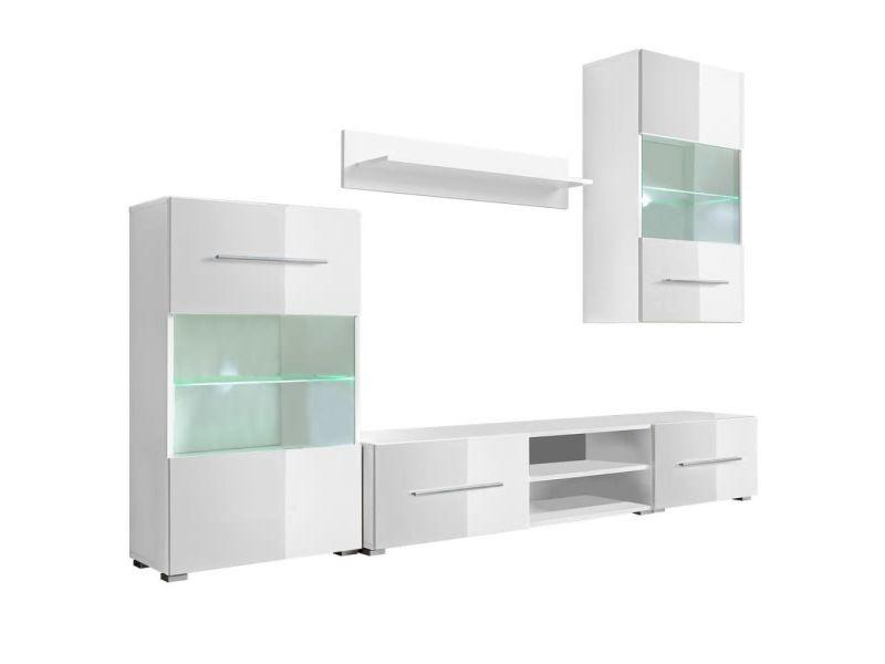 icaverne meubles audio video et pour home cinema edition meuble tv mural avec eclairage led 5 pieces blanc