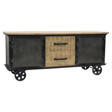 meuble tele industriel campagne tv enfilade sur roulettes 151 cm x 64 cm d54291463