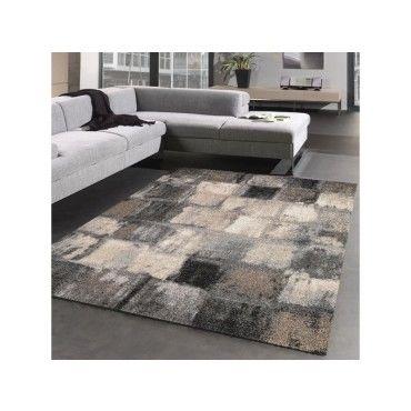 tapis salon moderne et design carreaulegant 01 gris beige noir 80 x 150 cm c23652367