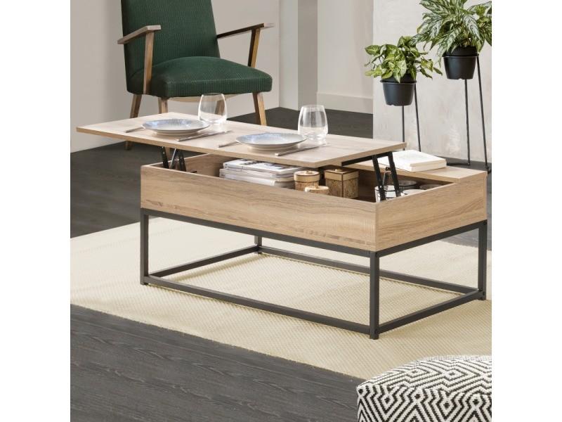 Table Basse Plateau Relevable Detroit Design Industriel Vente De Id Market Conforama