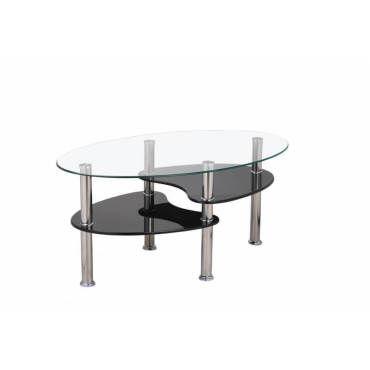 Table Basse Design Ovale En Verre Mdf Noir Konie Vente De Vivabita Conforama