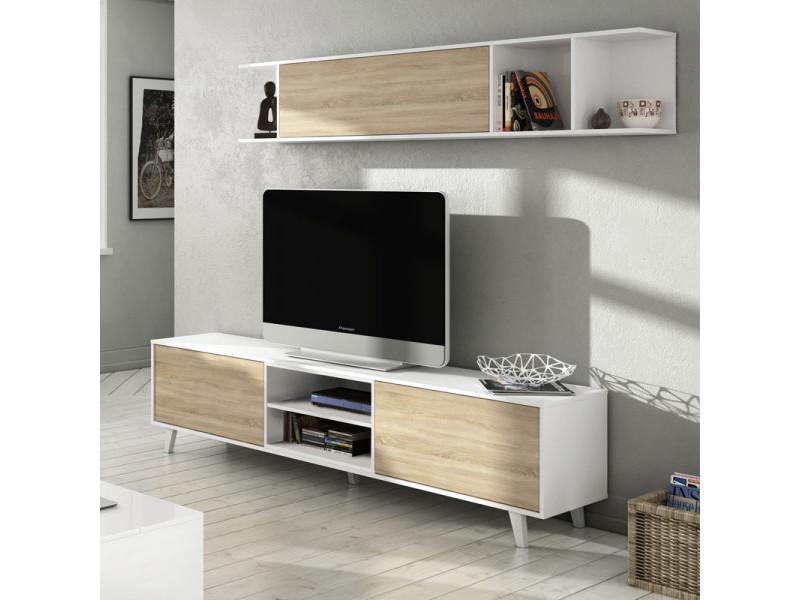 composition tv blanc brillant chene clair stockton meuble tv l 180 x l 41 x h 51 etagere murale l 180 x l 25 x h 35 cm