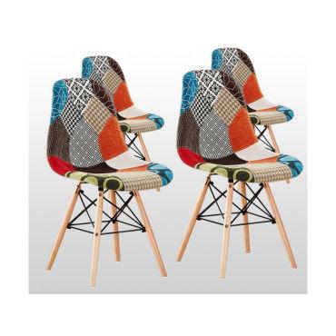 lot de 4 chaises scandinaves patchwork