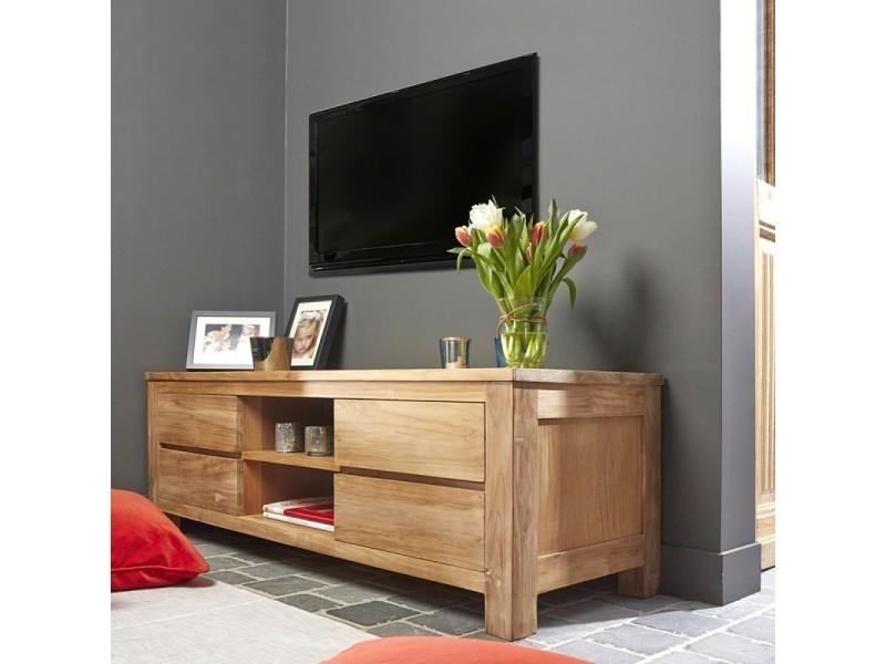 meuble tv en bois de teck 4 tiroirs