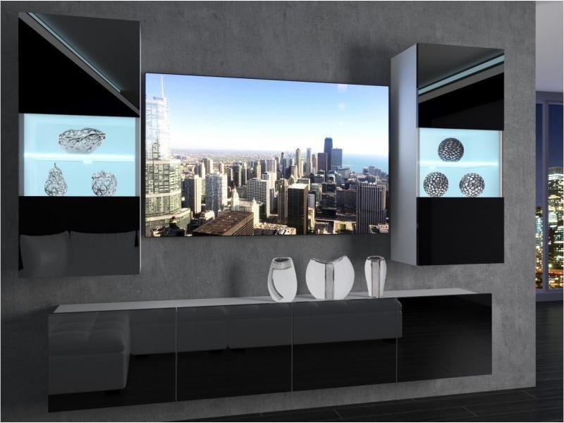 cyan ensemble meubles tv unite murale style moderne largeur 200 cm mur tv a suspendre 2 meuble vitrines noir