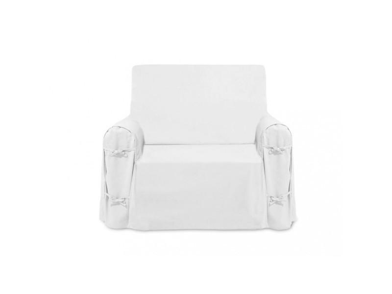 Housse De Fauteuil En Coton Panama Blanc Vente De Housse Et Structure De Canape Conforama