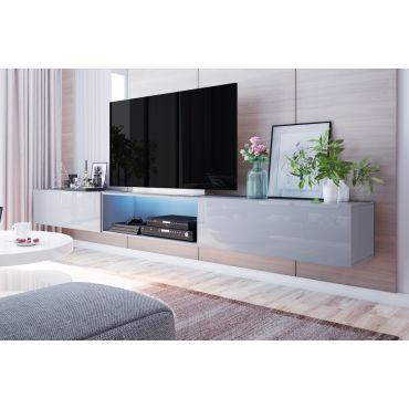 meuble tv suspendu larka 300 cm gris led d74384914