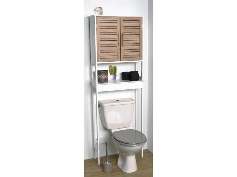 meuble dessus toilettes wc 2 portes aspect chene vieilli