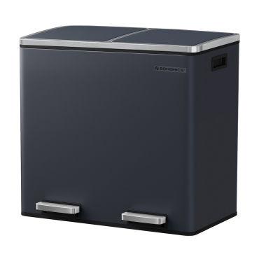 songmics poubelle de recyclage poubelle double seau 2 x 24l 2 compartiments mecanisme tampon pedales couvercle acier seau interieur en