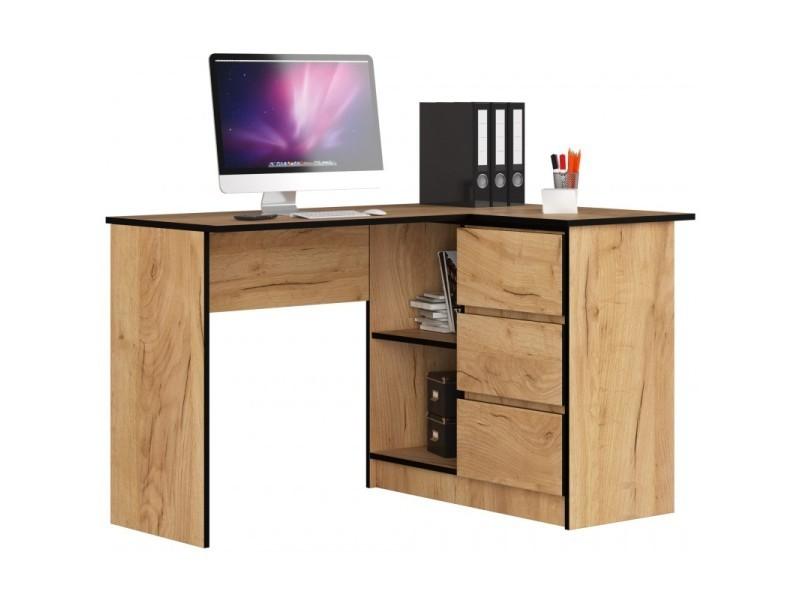 erosa bureau informatique d angle moderne chambre salon bureau 124 5x85x77 cm 3 tiroirs 2 niches table d ordinateur chene