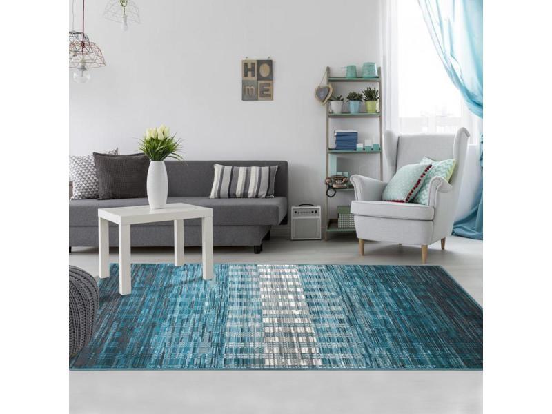 tapis design et moderne 120x170 cm rectangulaire geoflou bleu chambre adapte au chauffage par le sol