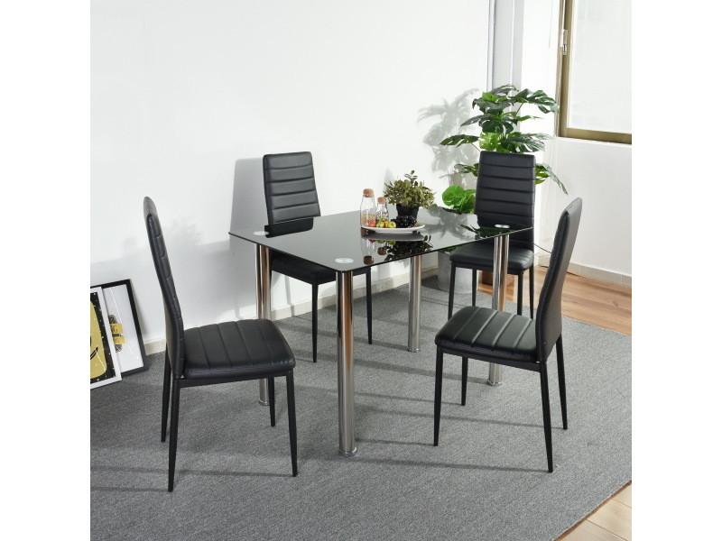 Ensemble Table Chaises 4 Places Verre Pvc Noir Vente De Furniturer Conforama