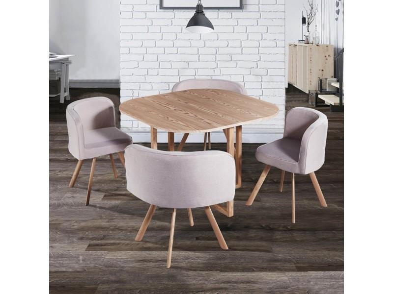 ensemble table 4 chaises encastrables beige flen
