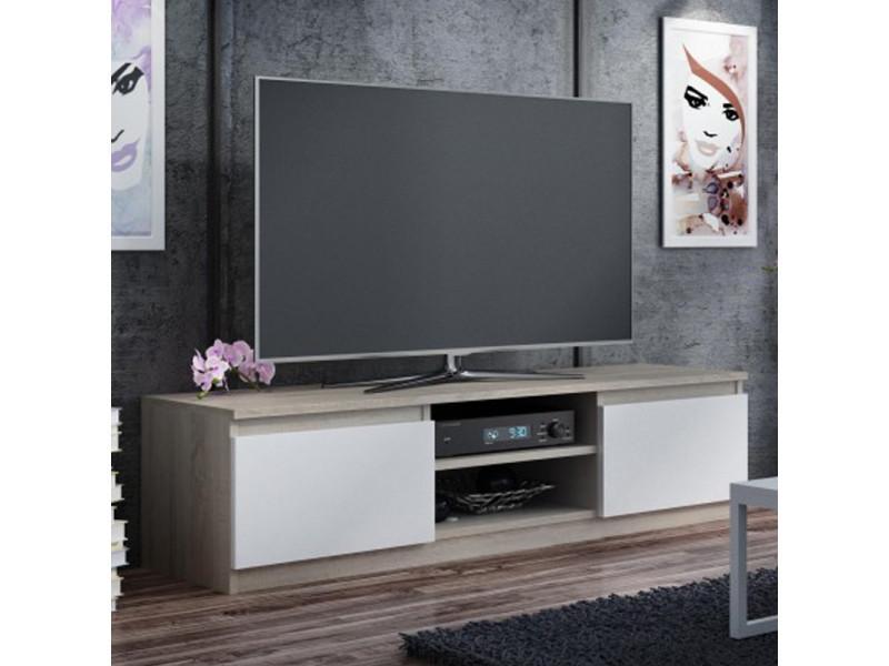 meuble tv banc tv clino 140 cm effet chene blanc style contemporain