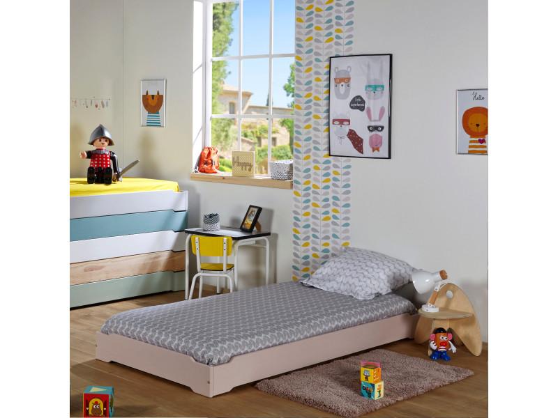 Pack Lit Enfant Empilable Avec Matelas Berry Blanc 90x190 Cm Vente De Akiten Retail Conforama