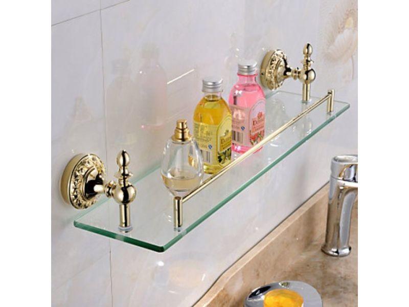 etagere contemporaine en verre et inox pour salles de bain