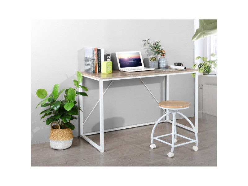 bureau chene blanc simple scandinave bois metal 120 60