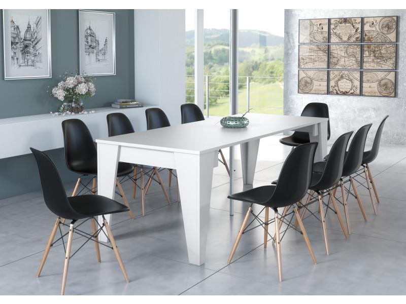 table console de salle a manger extensible avec rallonges jusqu a 239 cm couleur blanche dimensions fermee 90x53 6x74 6 cm de hauteur