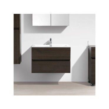 Meuble Salle De Bain Design Simple Vasque Siena Largeur 80 Cm Chene Marron Vente De Salle De Bain Pretes A Emporter Conforama