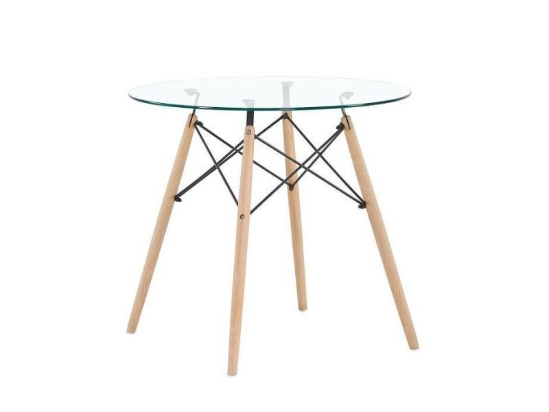 Table A Manger Ronde En Verre Transparent Scandinave Pieds En Hetre Et Support En Metal Vente De Table Conforama