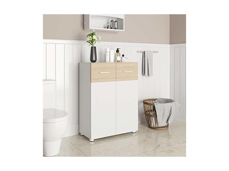 meuble de salle de bain sur pied meuble de rangement armoire a double porte 60 x 30 x 82 cm blanc et couleur chene bbk43wn