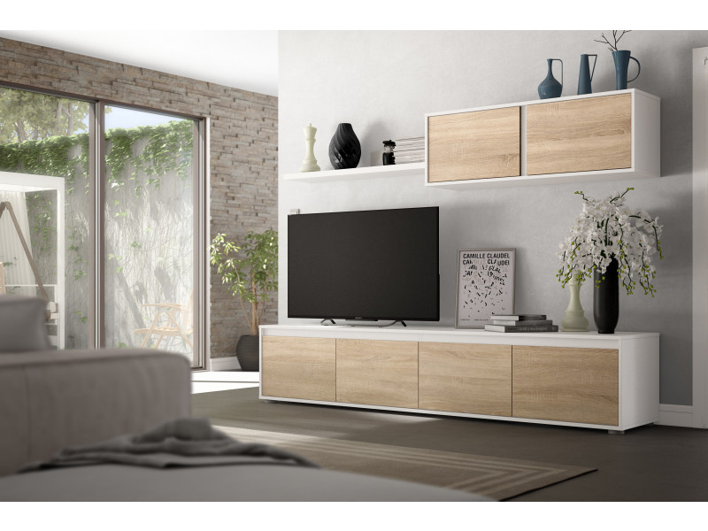 ensemble meuble tv scandinave alidi bois et blanc avec meuble haut