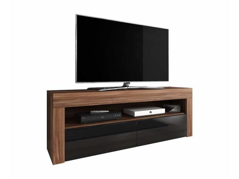meuble tv armoire bas divertissement luna 140 cm corps prunier avant noir brillant sans rgb led conforama