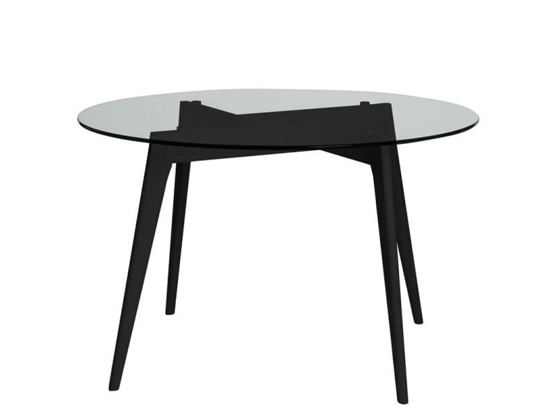 Table De Repas Ronde Verre Noir Samba L 120 X L 120 X H 76 Neuf Vente De Tousmesmeubles Conforama