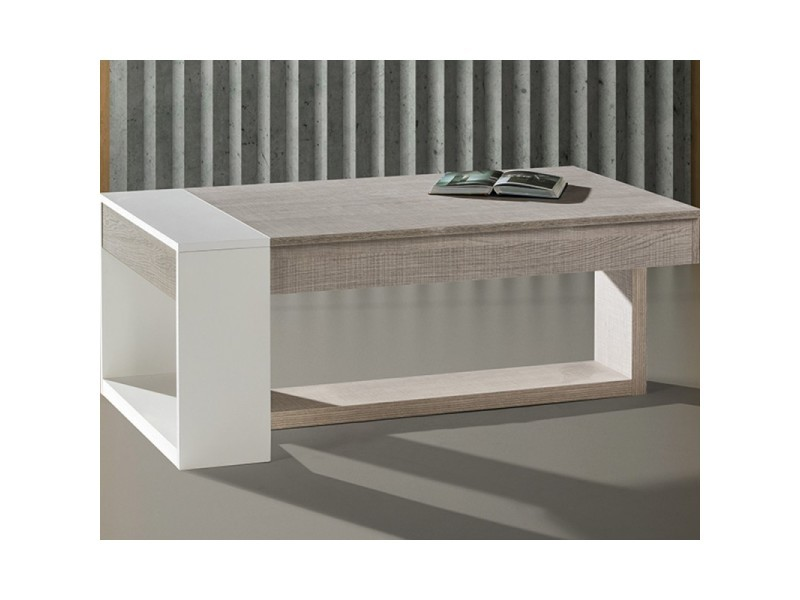 table basse relevable chene clair blanc esteban l 110 x l 60 x h 44 neuf