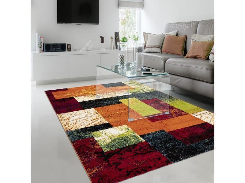 tapis design et moderne 160x230 cm rectangulaire rand ll multicolore salon adapte au chauffage par le sol
