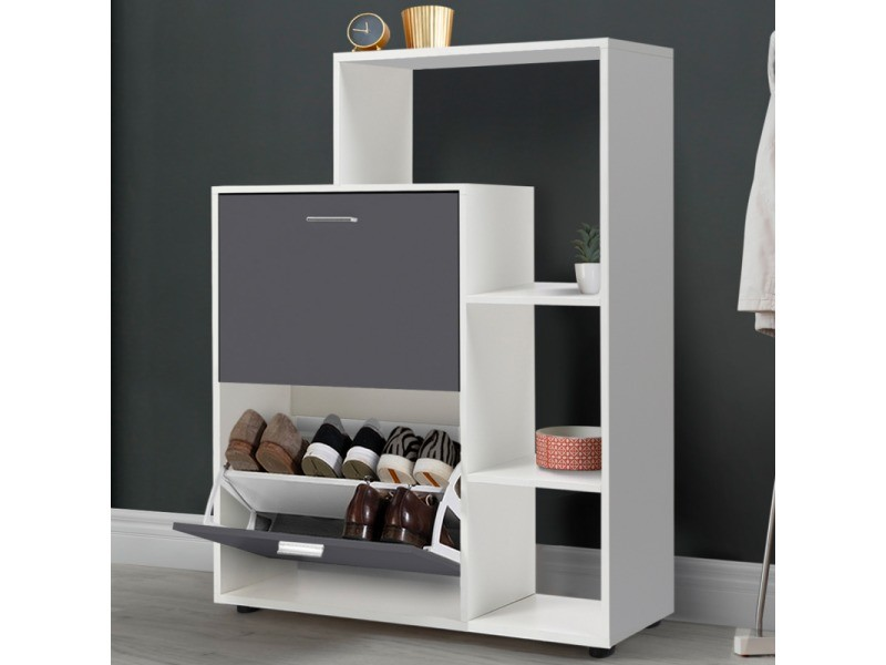 meuble a chaussures blanc 2 portes grises avec etagere