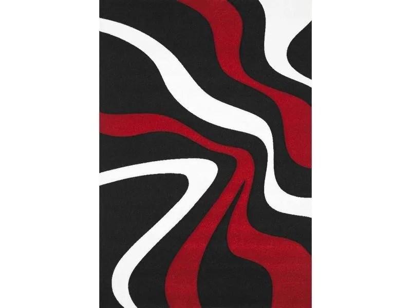 tapis comtemporain doux et de qualite todila blanc rouge noir 60 x 110 cm