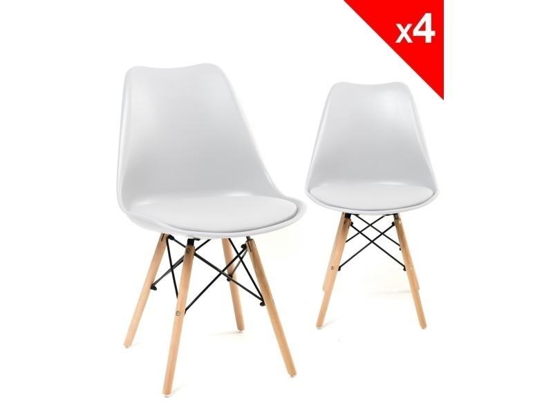 kayelles lot de 4 chaises scandinave nasi avec coussin blanc 284 vente de chaise conforama