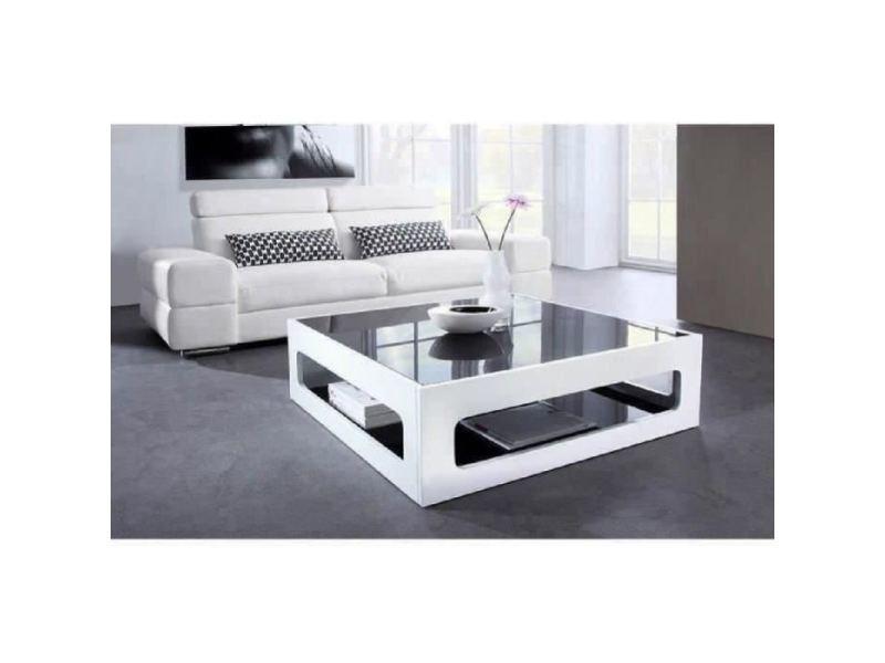 table basse angel table basse carree style contemporain laquee blanc brillant avec plateaux en verre trempe noir l 90 x l 90 cm