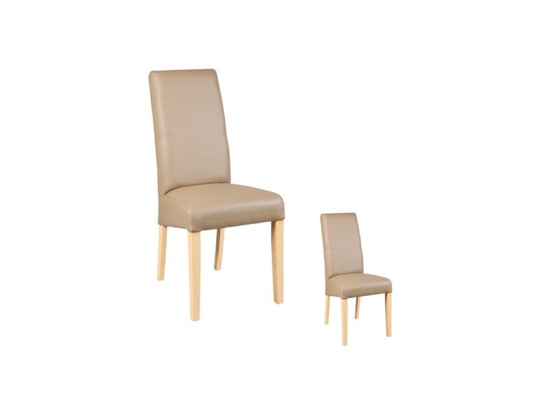 duo de chaises similicuir taupe kuban l 47 x l 52 x h 97 neuf