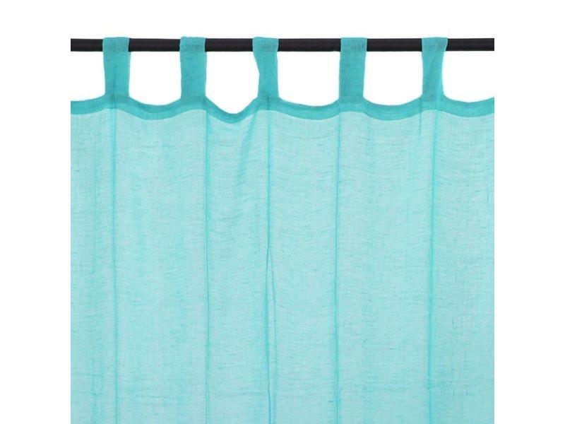 premium voilage 100 coton a pattes bleu turquoise 110x250