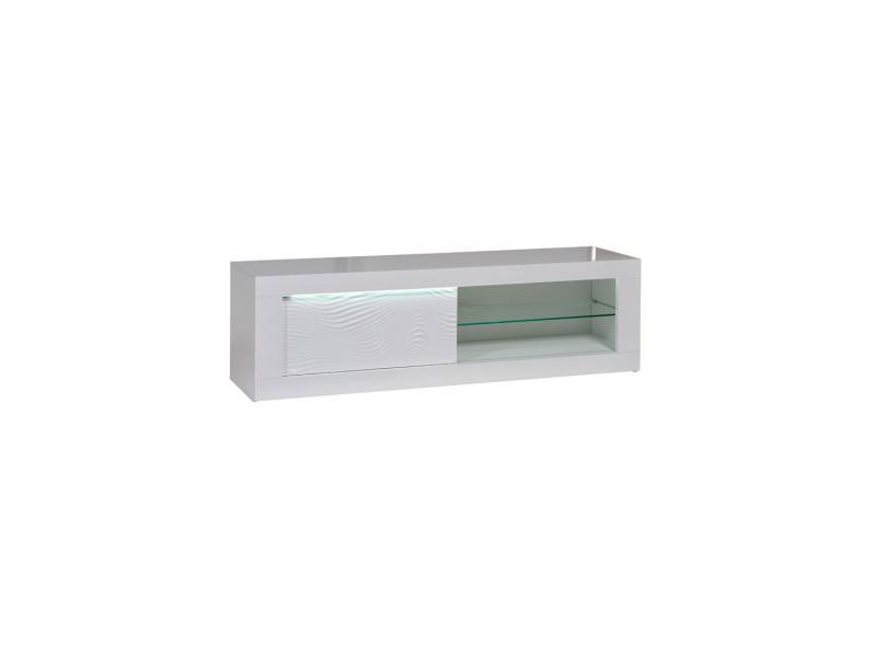 meuble tv 1 porte coulissante laque blanc a leds marks l 170 x l 45 x h 50 neuf